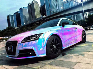 Holográfica do arco-íris cromo do carro de vinil plástico bolha livre adesivos Film20inx54.33in zMdT #