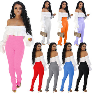 Sexy Women Two piece Set Fashion Flared Sleeve Off-the-shoulder Top Elasticity Knitting Pencli Pants Outfit Ladies Slim Street Clothing 817