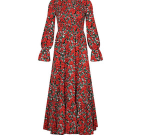 Long Dress Autumn Winter Vintage Ladies Flroal Ruched Black Clothes Elegant Long Sleeve Maxi Dresses For Women Party 2020 Fall00