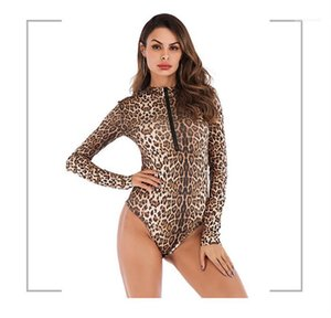 Summer Autumn Slim Style Female Clothing Casual Apparel Womens Sexy Desinger Jumpsuits Leopard Print Long Sleeve Fashion