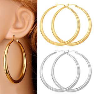 Trendy Big Size Style Large Hoop Earrings For Women Fashion 18K Real Gold Plated Basketball Wives Big Size Earrings E424 .
