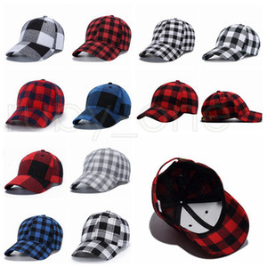 11 Stil Red Buffalo prüfen Kappen Red Plaid Baseball Cap Plaid Mütze Casquette Ball-Kappe Checkered Party-Hüte Supplies RRA3427