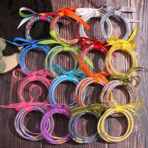 JUST FEEL 5 PCS / Set Bowknot Mulitcolor Блеск Bangles Set 2020 All Weather Stack Силиконовые Пластиковые Блеск Желе браслет браслет