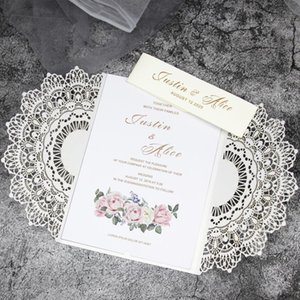 50pcs lot white elegant invitation card Laser cut wedding invitation wedding party supplies