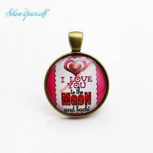 G004 Red Heart Я тебя люблю на Луну и обратно Стекло Cabochon Подвески Подвески для ожерелье Изготовление ювелирных изделий DIY ручной работы 25мм
