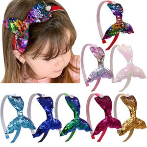 Accesorios para el cabello de las bandas de la cabeza de la cabina de la cabeza de la lentejuelas de la sirena 4.5 '' para niños Niñas Rainbow Mermaid Pearls Pein Pein Bands Fashion Tocado