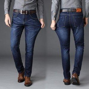 Hommes Jeans Fashion Slim Pure Color élastiques Pantalon droit 2020 Spring Mid Casual taille d'affaires Jeans droites Taille Plus