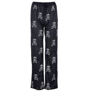 Женщина Дамы Повседневная Длинные брюки черепа печати дряблая Плюс Размер Elastic Wide Leg брюки Пижамы Брюки черный 5XL