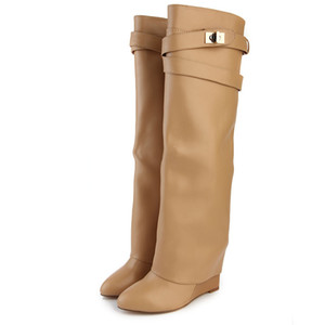 New stylish Winter knee high boots Women wedge heel shark lock Strap fold point toe ladies knight Layer boots