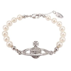 el diseñador de moda de marca pulseras femeninas Reina Madre Occidental Vivienne Vivienne Saturno brazalete de perlas de clavícula de la cadena del punk Ambiente