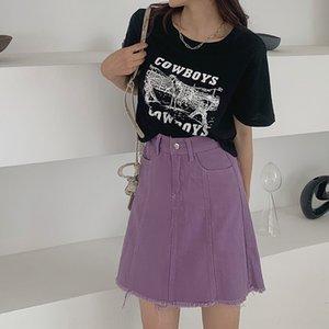 [Heenjun] A569 été Hipster taille haute de la jupe One-Step One-Step Denim Denim Femme avec le côté pour enfants jupe courte