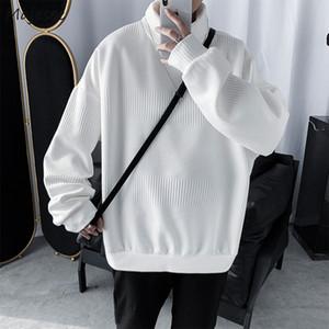 Maglioni Uomini Turtelneck solido allentato del tutto-fiammifero autunno che lavora a maglia stile coreano Mens studenti Ulzzang Retro svago alla moda