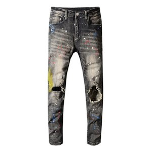 Sokotoo Men's gray black painted holes ripped jeans Slim skinny distressed stretch denim pants Long trousers