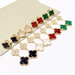 Cuatro hojas del trébol serie con estilo de joyería elegante molino de viento con pendientes de diamantes de tres flores