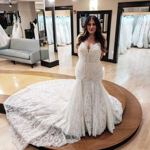 Designer Full Lace 2021 Plus Size Wedding Dresses Arabic Aso Ebi Lace Luxurious Bridal Gowns Backless Spaghetti Bridal Dresses Mermaid