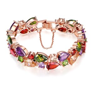 Luxury Women Bracelets 3A Grade Crystals Bracelet Rose Gold Plated Brass Link Bracelet For Girls Birthday Valentines Gifts