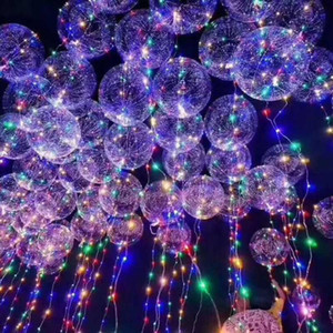Led Bobo Balloon Colorful Transparent Round Bubble Festive Party Christmas Decoration Party Wedding Balloons Lighting 3M String WX9-174