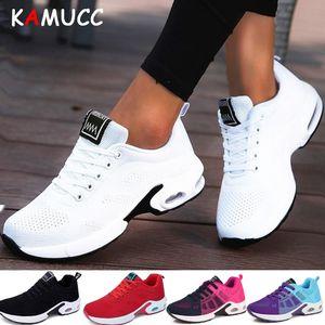 KAMUCC Nova Plataforma Ladies Sneakers respirável mulheres calçados casuais Mulher Moda altura crescente sapatos Plus Size 35-42