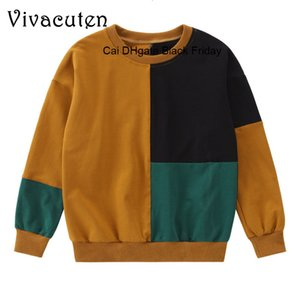 Autumn Spring Children Cotton T-shirt for Boys Long Sleeve O-Neck Patchwork Casual Tees Kids Boy Pullover Sweatshirt Tops H288