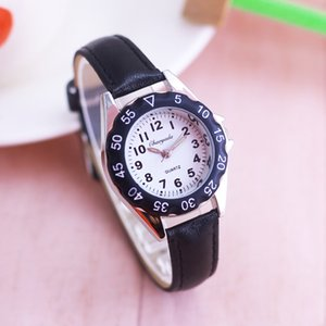chaoyada çocuk erkek kız renkli deri elektronik kol saati küçük çocuklar su geçirmez kuvars zaman saati saatler öğrenmek