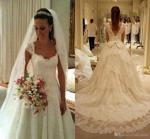 Düğün Moda Yeni Bir Hat Gelinlik Dantel kap Kol Tier Tren ile Big Bow Belt Uzun Backless Gelinlik Bc1756 Sweep fırfır
