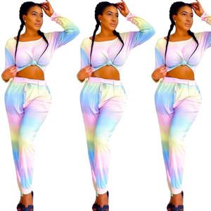 Женская Tie Dye пижама Set Home Сыпучие с длинным рукавом Tshirt И Резинка Брюки Famale Повседневный сна Одежда