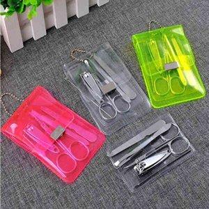 5pcs / set Edelstahl Pedicure Schere Pinzette Messer-Ohr-Auswahl-Dienstprogramm Nagelpflege-Set Nail Clipper Kit Maniküre-Set