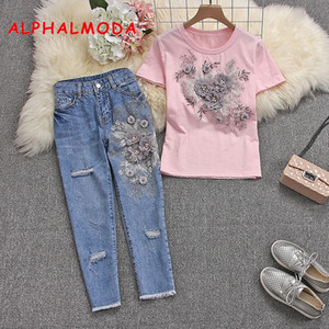 ALPHALMODA 2020 Summer Women Stylish Short-sleeved Tshirts Jeans Heavy-work 3D Floral Cotton Tshirts and Ripped Trousers