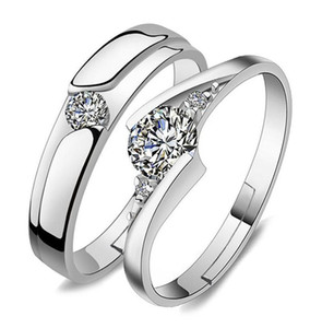 Silver Rings Open Zirconia Ring Adjustable Cubic Couple Ring Wedding Crystal Engagement beauty888 LigIq