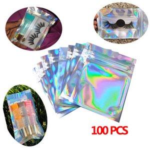 100шт Flat Zip Ресницы пакет Box Ванна Соль Косметический мешок Голографическая лазерная мини-алюминиевая фольга Замок Толстые сумки
