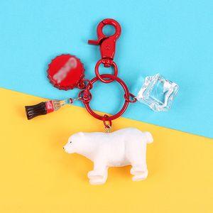 oso polar de hielo Cola botella de refresco de cola llavero de Coca-Cola botella colgante creativa hecha a mano la llave del coche Simulación animal colgante