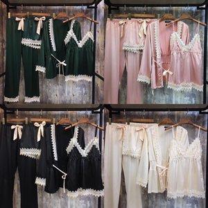 Cuatro pieza del otoño nuevas mujeres pijama de su casa la ropa pijamas cremallera pantalones de la liga del camisón de seda de cuatro piezas de ropa para el hogar