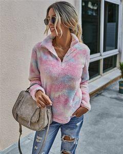 Женская флис Quarter-Zip Jacket Sherpa пуловер мягкой Fuzzy флис Толстовка Куртка свитер пальто зима S-XL