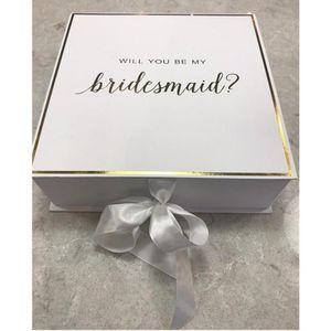 هدية التفاف احباط الذهب سوف تكون بلدي صناديق العروسة مخصص الحرير القوس الزفاف شكرا مربع bachelorette خادمة الشرف اقتراح التعبئة