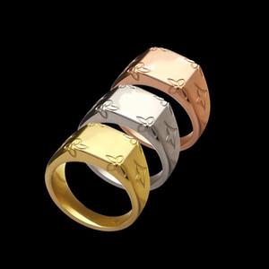quatre bagues bagues de fiançailles feuille fleur hommes de bijoux de créateurs de luxe pour les femmes d'argent or rose style de mode de bijoux en acier inoxydable