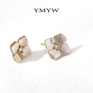 YMYW lusso Shell naturale Fiori orecchini lucidi zirconi gioielli coreano squisiti Donne geometrica Piccoli Orecchini