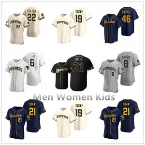 Beyzbol Erkekler Kadınlar çocuklar 22 Christian Yelich 2020 Sezon Josh Hader Woodruff Lorenzo Cain Ryan Braun Brent Suter Arcia Brewers Formalar