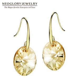Neoglory Austrian Crystal Light Yellow Gold Color Bohemian Dangle Drop Earrings For Women Fashion Jewelry 2020 Love JS9