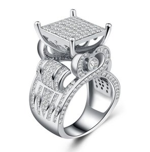 Women Wide Square diamond Cluster Engagement Heart Architecture Ring Platinum Plated Bridal Fashion Party Jewelry nt