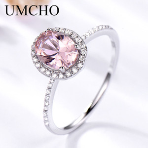 UMCHO argento 925 anello ovale Classic Pink Morganite squilla per Gemstone fidanzamento Donne Wedding Band Jewelry bel regalo