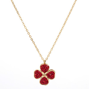 Shaking Sound New Titanium Steel Rotation Clover of Four Leaves Red Necklace Female Wild Diamond Clavicle Chain Earings Set Fashion