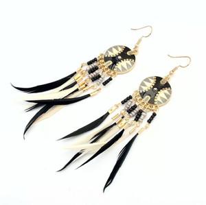 아프리카 민족 스타일 부족의 인디언 깃털 개의 Tassels 긴 귀걸이 귀 클립 댄스 공연 보헤미안 휴일
