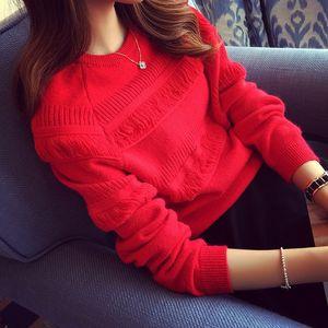 17qZa 2020 sonbahar ve kış Kore tarzı tatlı püskül Kol Triko kazak kadın kazak gevşek öğrenci Uzun Pullover kırmızı