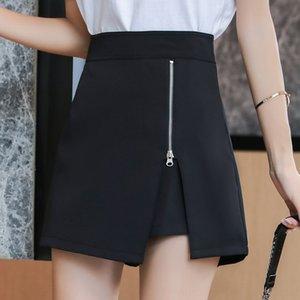 2020 Herbst neue Anti-Exposition A- LINE DRESS Schürze Schürze Allgleiches unregelmäßige hohe A- Linie Kleid Hüften bedeckte Rockhosen Taille Rock für Frauen