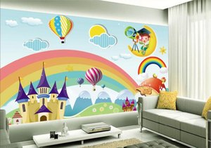 Camera personalizzato Wallpaper bambini murale Rainbow Castle Cartoon fondale carta da parati Kids Room murale per le pareti Papel de Parede