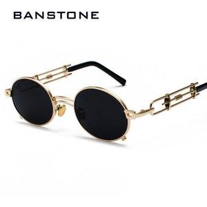 Quadro BANSTONE Homens de Metal Oval Steampunk gótico do vampiro Sunglasses Único Retro 1980 Sun Glasses Cosplay Styling