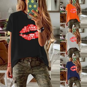 shirt loose t Femmes d'été Lettre à lèvres Imprimer manches courtes O Casual Neck Tops Pull Harajuku Streetwear Loisirs chemisettes mujer