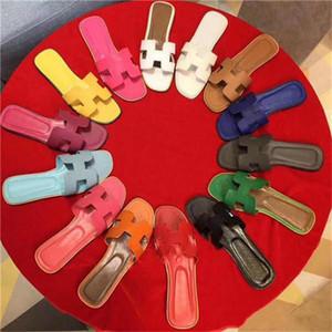 2020 Оран Oasis кожаные летние сандалии Stripes расцветает Авто бассейн вьетнамки женщин Luxe Тапочки для женщин Потертости Бич Слайды мокасины вверх