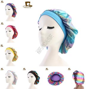Laser Caps Muslim Women Sleeping Bonnet Turban Hat Designers Wide Stretch Silky Satin Breathable Bandana Bonnet Skull Cap Chemo Hats D82702