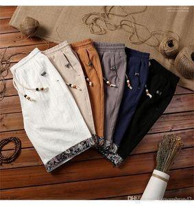 Eté court Homme Pantalon style chinois Laciness Homme Shorts Mode Rétro légère respirante Shorts Designer Drawstring